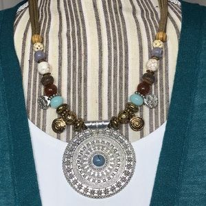 Chico's Short Cool Beaded Pendant Necklace